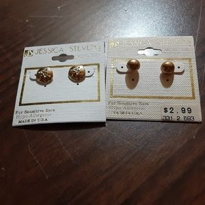 2 pair earrings sand dollars and round studs